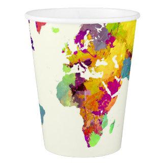 Copo De Papel cores do mapa do mundo