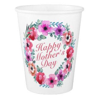 Copo de papel da grinalda floral feliz elegante do