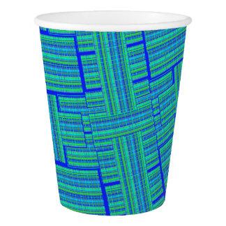 copo de papel da xadrez do verde azul