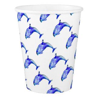 Copo de papel do golfinho azul