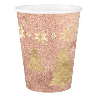 Copo De Papel Estrela da árvore do cobre do ouro do rosa de