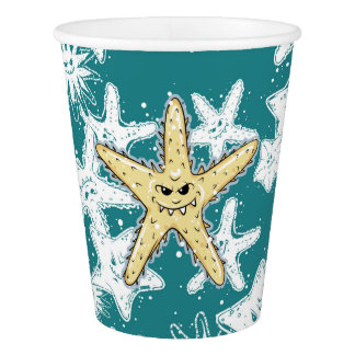 Copo De Papel Estrela do mar aguçado amarela engraçada com um