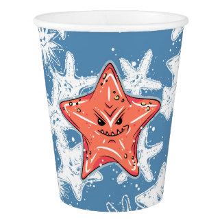 Copo De Papel Estrela do mar vermelha engraçada com um smirk