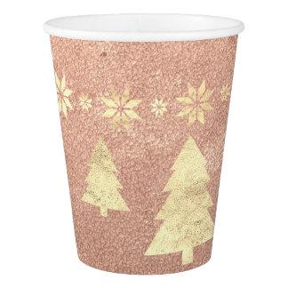 Copo De Papel Estrelas da árvore do cobre do ouro do rosa de