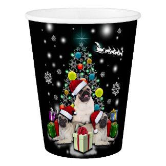 Copo De Papel Feliz Natal com o animal do cão do Pug
