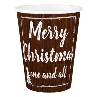 Copo De Papel Feliz Natal de madeira rústico da neve da festa de