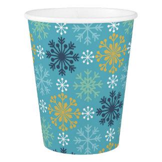 Copo De Papel Flocos de neve azuis e brancos