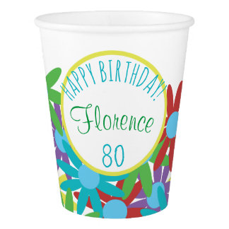 Copo De Papel floral do aniversário do 80 personalizado