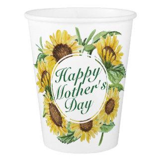 Copo de papel floral do dia das mães feliz dos