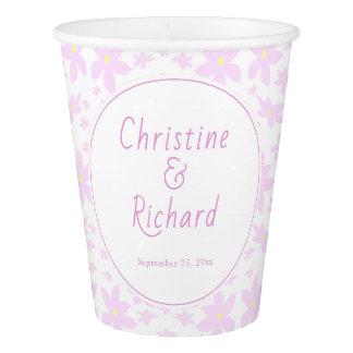 Copo De Papel Flores cor-de-rosa que Wedding