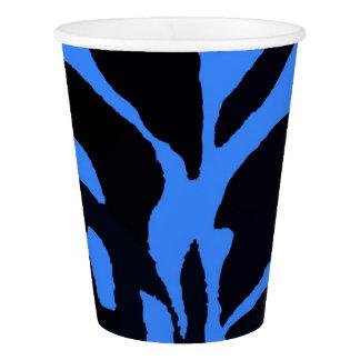 Copo De Papel Forma preta e azul do animal da selva da zebra