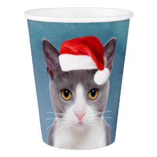 Copo De Papel Gato que veste o retrato do Natal do chapéu do