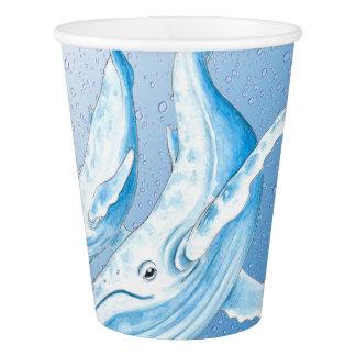 Copo De Papel Humpbacks azuis Waterdrops