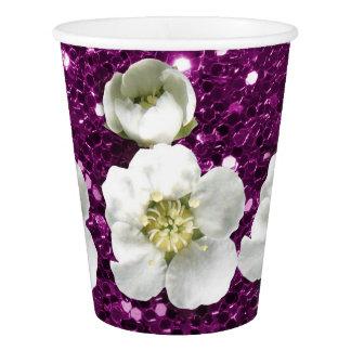 Copo De Papel Jasmim Amethyst roxo Metall da flor branca do