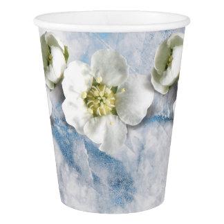 Copo De Papel Jasmim azul do branco da flor do brilho da safira