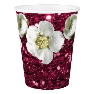 Copo De Papel Jasmim cor-de-rosa tropical do branco da flor do