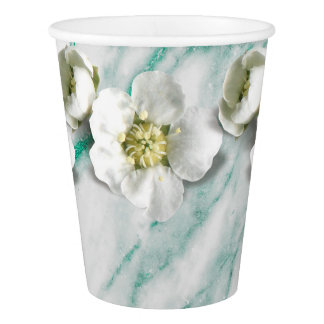 Copo De Papel Jasmim de mármore do branco da flor do brilho de