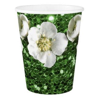 Copo De Papel Jasmim do branco da flor do brilho do verde de