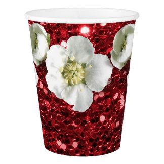Copo De Papel Jasmim do branco da flor do brilho do vinho tinto