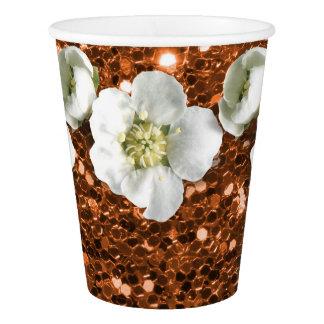 Copo De Papel Jasmim marrom de cobre do branco da flor do brilho