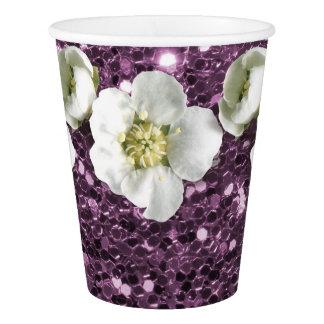 Copo De Papel Jasmim roxo Amethyst do branco da flor do brilho