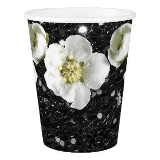 Copo De Papel Jasmim tropical da flor do brilho do Sequin preto