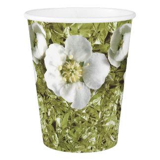 Copo De Papel Jasmim tropical verde da flor da folha de alumínio