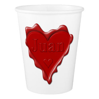 Copo De Papel Juan. Selo vermelho da cera do coração com Juan