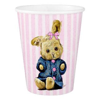 Copo de papel listrado do rosa bonito do coelho de