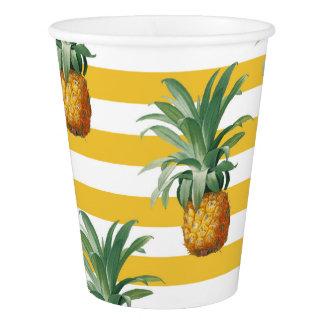 Copo De Papel listras amarelas dos pinepples
