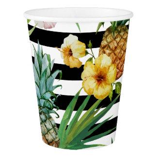 Copo De Papel Listras tropicais do preto da flor do abacaxi da