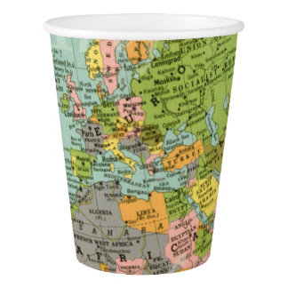 Copo de papel - mapa do mundo multicolorido