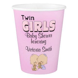 Copo De Papel Meninas gêmeas do chá de fraldas