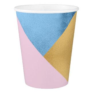 Copo De Papel Metal marinho azul Pastel do rosa do Lilac do ouro