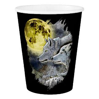 Copo De Papel Montanha da lua do lobo da fantasia