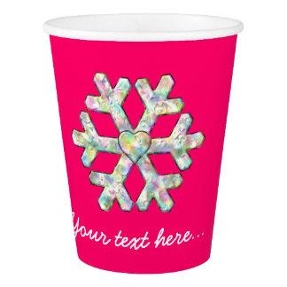 Copo De Papel Natal do rosa do floco de neve do rosa quente