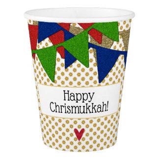 Copo De Papel Natal e Hanukkah felizes de Chrismukkah