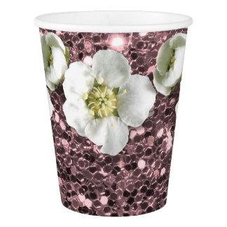 Copo De Papel O rosa tropical cora jasmim do branco da flor do