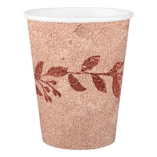 Copo De Papel Ouro cor-de-rosa floral de cobre Hanukah Wedding