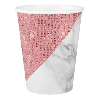 Copo De Papel Ouro de mármore cinzento branco de prata do rosa