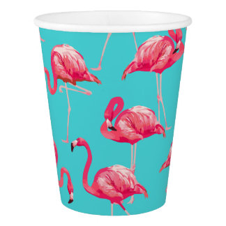 Copo De Papel Pássaros cor-de-rosa do flamingo no fundo de