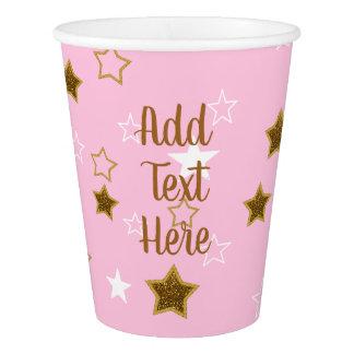 Copo de papel personalizado das estrelas do rosa e