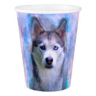 Copo De Papel Pintura da arte da cor de água do cão do rouco