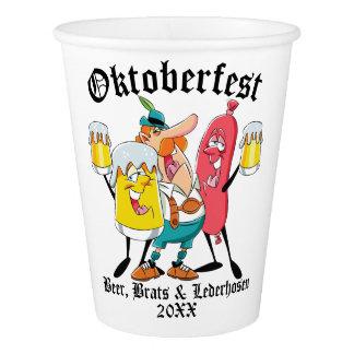 Copo De Papel Pirralhos & Lederhosen da cerveja de Oktoberfest