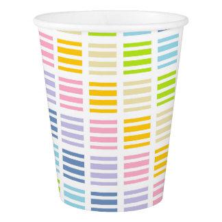 Copo De Papel Quadrados e listras Pastel do arco-íris