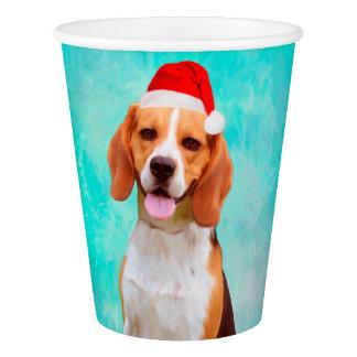 Copo De Papel Retrato do chapéu do papai noel do Natal do cão do