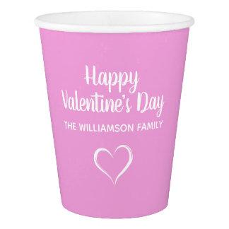 Copo De Papel Rosa & dia dos namorados feliz personalizado