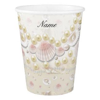 Copo De Papel Seashells e pérolas personalizados
