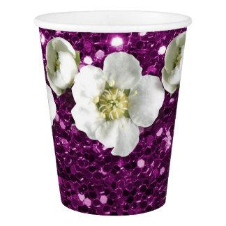 Copo De Papel Sequin Amethyst roxo do jasmim da flor do brilho