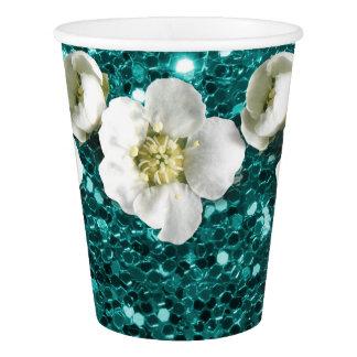 Copo De Papel Sequin azul aquático do jasmim da flor do brilho